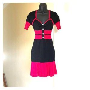 KAREN MILLEN size 2 red and black knit dress